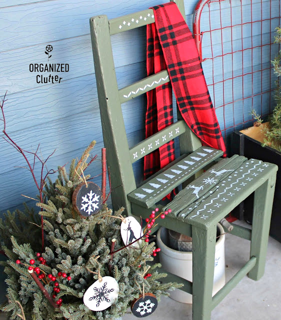 Christmas sweater stenciled chair makeover by Organized Clutter, featured on DIY Salvaged Junk Projects 556 on Funky Junk!