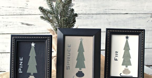 Christmas tree stenciled art