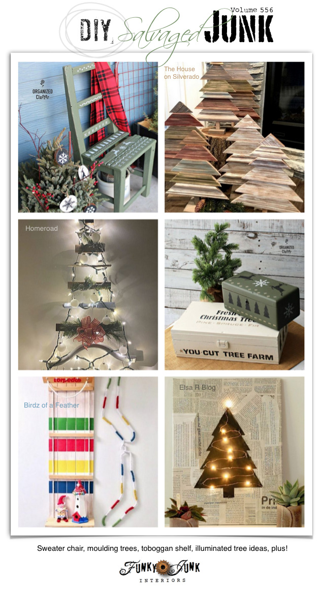 Visit 20+ NEW DIY Salvaged Junk Projects 556 - Sweater chair, moulding trees, toboggan shelf, illuminated tree ideas, plus! Up-cycled projects with link party on Funky Junk! Click to join in!