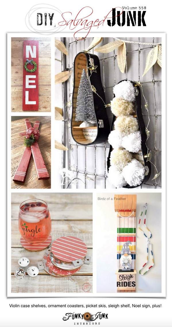 Visit 20+ NEW DIY Salvaged Junk Projects 558 - Violin case shelves, ornament coasters, picket skis, sleigh shelf, Noel sign, plus! Up-cycled projects to make. Click to view all tutorials!