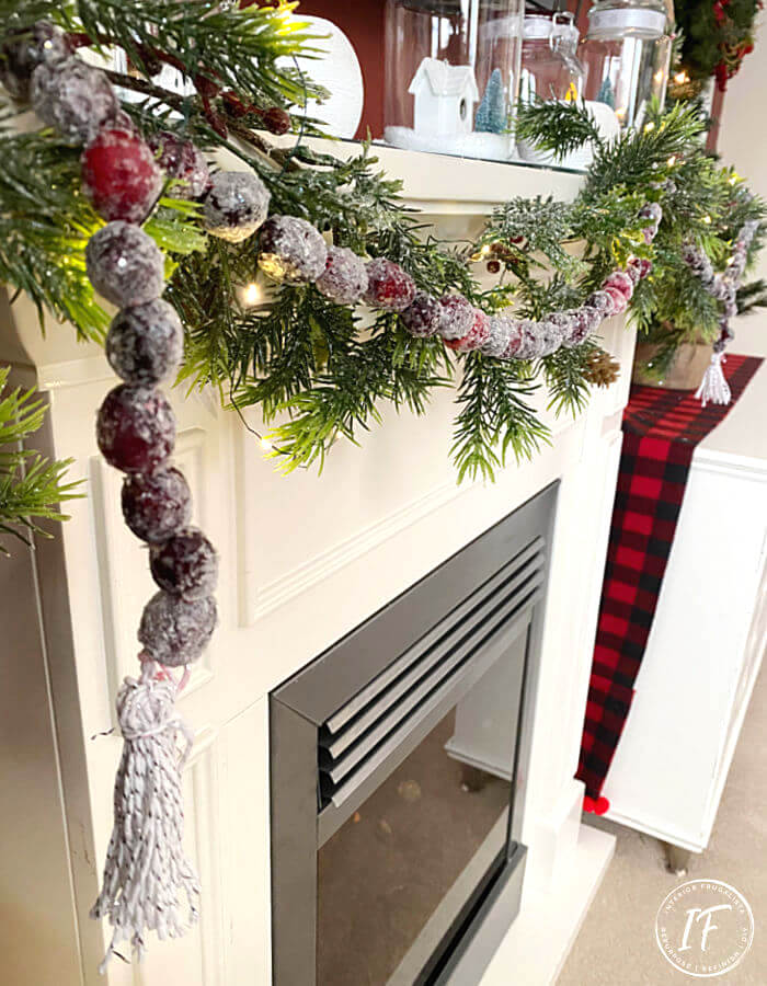 Faux sugared cranberry Christmas Garland by Interior Frugalista, featured in DIY Salvaged Junk Projects 557 on Funky Junk!