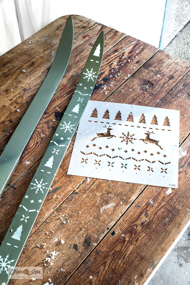 Learn how to paint and stencil these festive sweater skis in a beautiful shade of Bayberry! Part of a Christmas kitchen home tour. Click to full instructions.