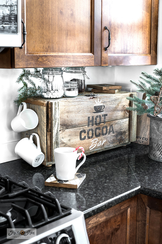 Learn how to create this festive and productive Hot Cocoa Bar appliance garage! Click to see how it works!
