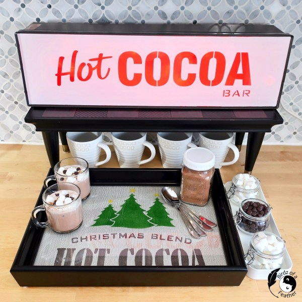 Illuminated Hot Cocoa Bar station by Birdz of a Feather, featured in DIY Salvaged Junk Projects 557 on Funky Junk!