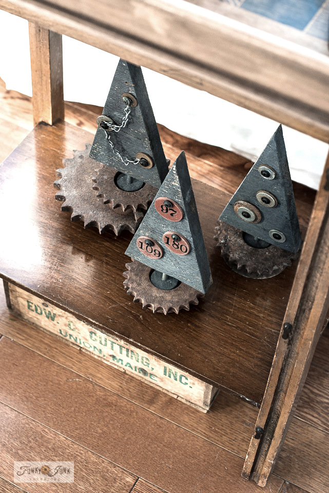 Industrial scrap wood Christmas trees in Christmas living room home tour.