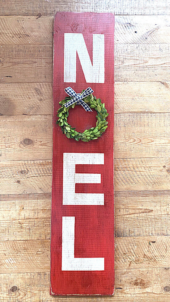 Noel with wreath Christmas sign by Homeroad, featured on DIY Salvaged Junk Projects 558 on Funky Junk!