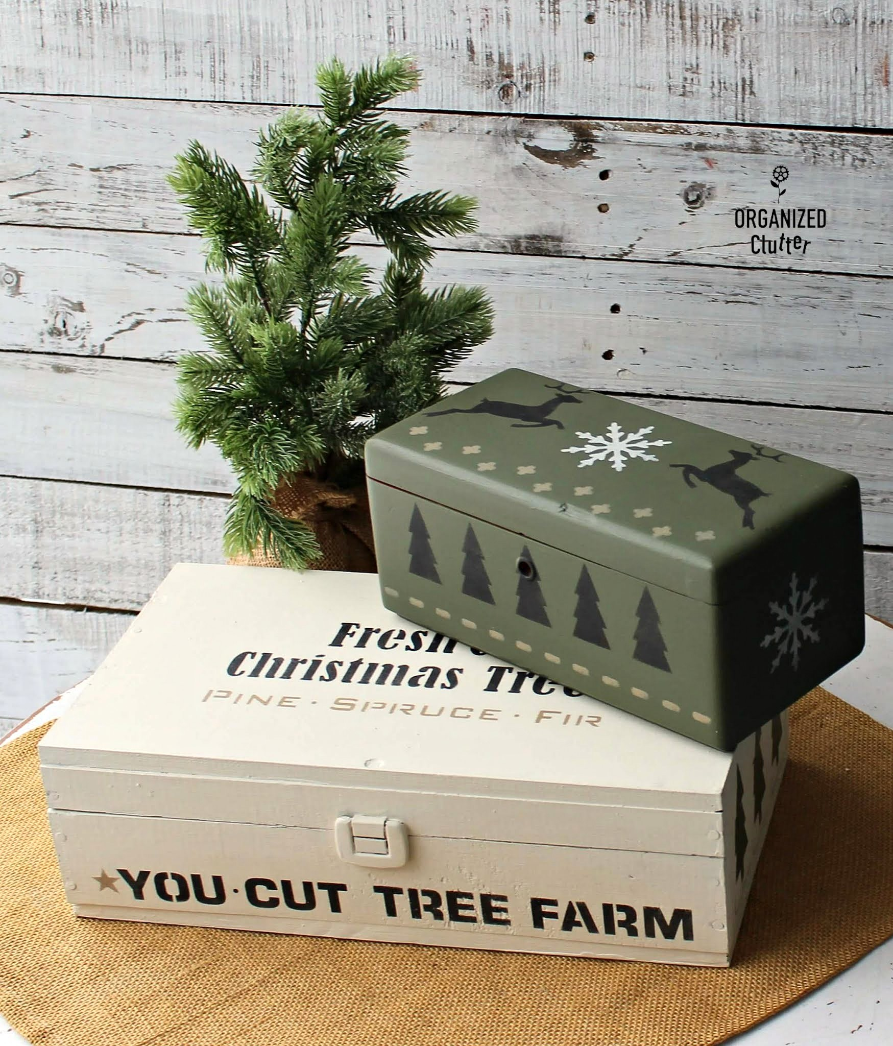 Stacked Christmas tree themed stenciled boxes by Organized Clutter, featured on DIY Salvaged Junk Projects 556 on Funky Junk!