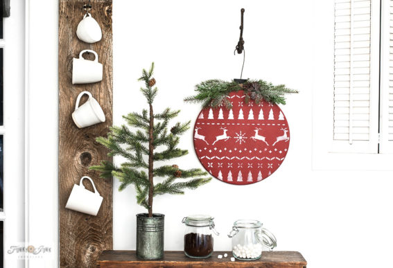 Wood round Christmas sweater ornament with stencils