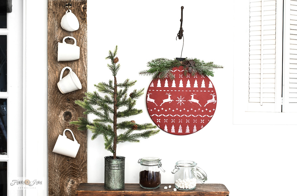 Wood round Christmas sweater ornament with stencils and milk paint!