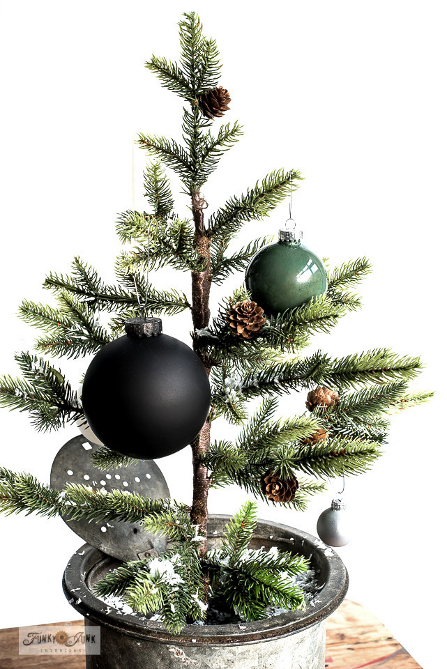 Paint Christmas ornaments in a custom color by Funky Junk Interiors