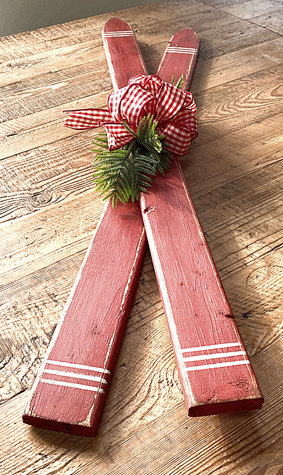 Picket skis by Homeroad, featured on DIY Salvaged Junk Projects 558 on Funky Junk!