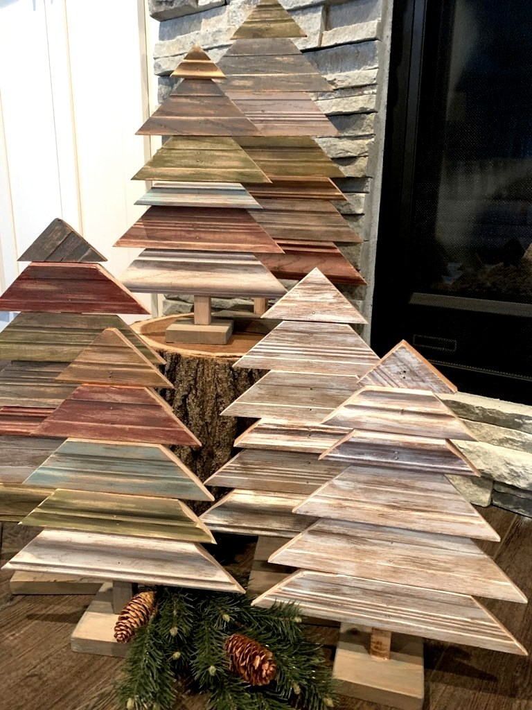 Scrap wood moulding Christmas Trees by The House on Silverado, featured on DIY Salvaged Junk Projects 556 on Funky Junk!