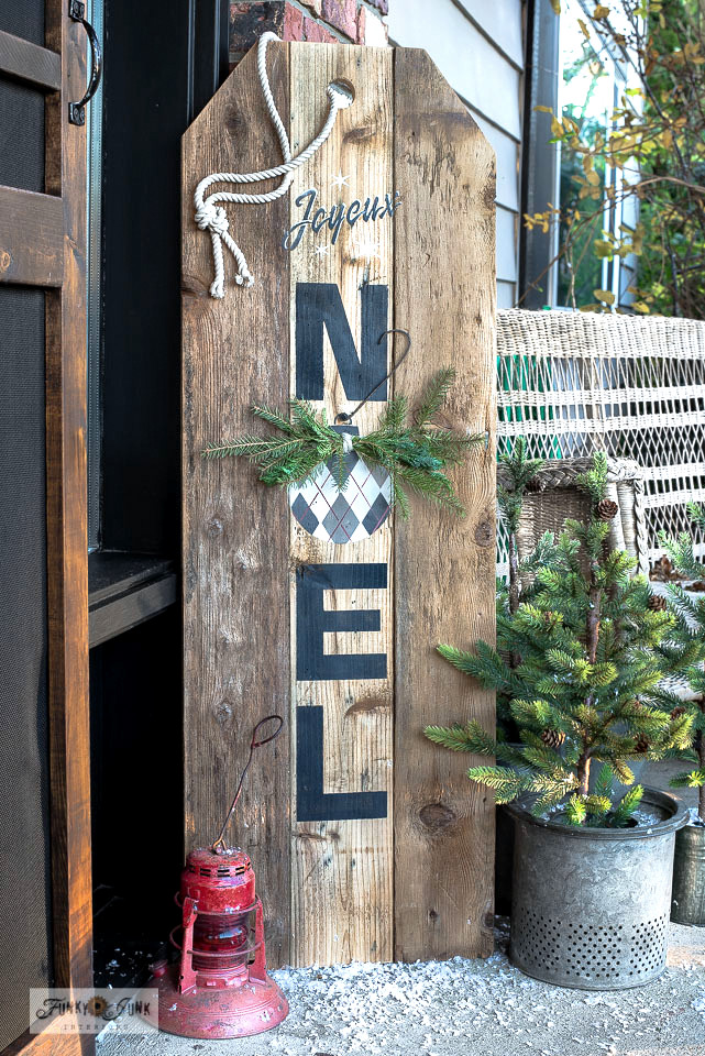 Christmas tag Noel vertical porch sign with Argyle ornament by Funky Junk Interiors