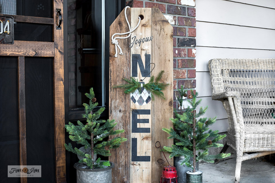 Learn how to DIY this Noel gift tag vertical Christmas sign with Argyle ornament with reclaimed wood and Funky Junk's Old Sign Stencils! Click to read full tutorial along with a helpful video!