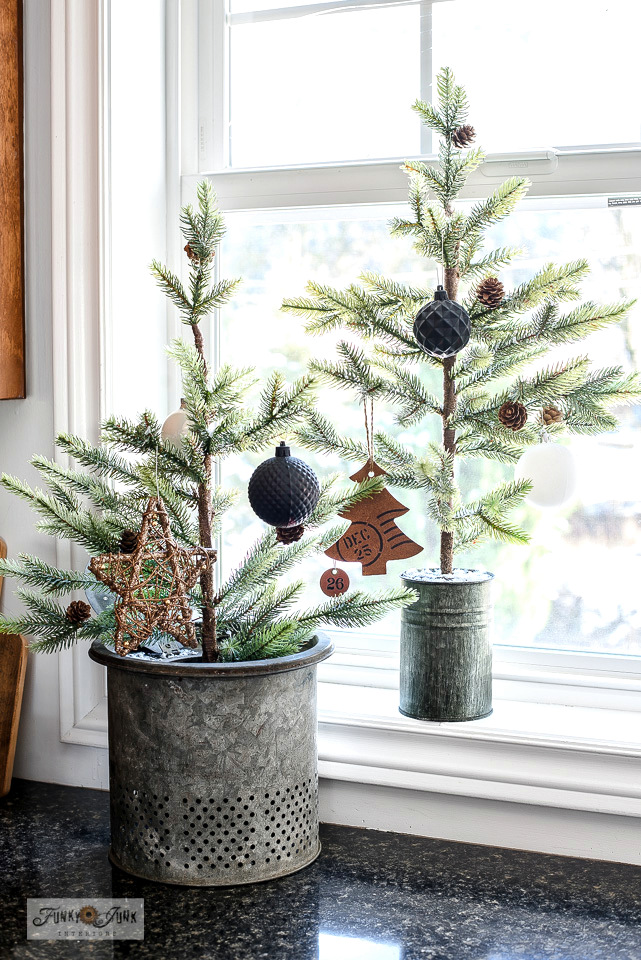 Decorate faux seedling trees with painted ornaments in custom colors! Click for full instructions.