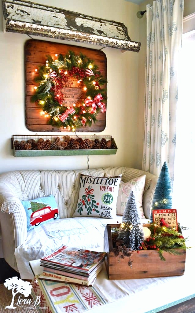 Vintage Christmas home tour Lora B, featured in DIY Salvaged Junk Projects 557 on Funky Junk!