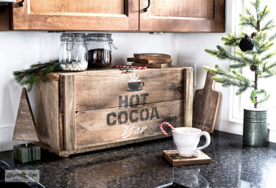 wood hot cocoa sign appliance garage