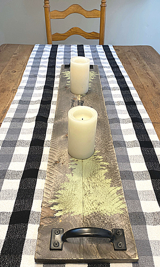 Wooden stenciled Christmas Trees table runner by Homeroad, featured on DIY Salvaged Junk Projects 556 on Funky Junk!