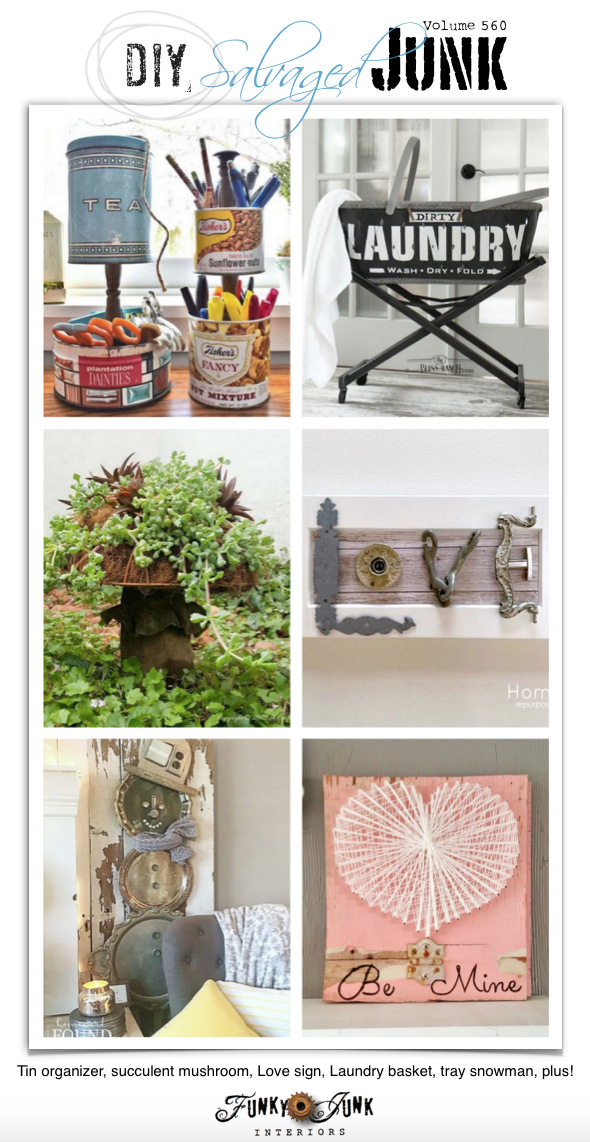 Get inspired by visiting 20+ NEW DIY Salvaged Junk Projects 560 - Tin organizer, succulent mushroom, Love sign, Laundry basket, tray snowman, plus! Up-cycled project tutorials and link party. Click to see them all and join in!