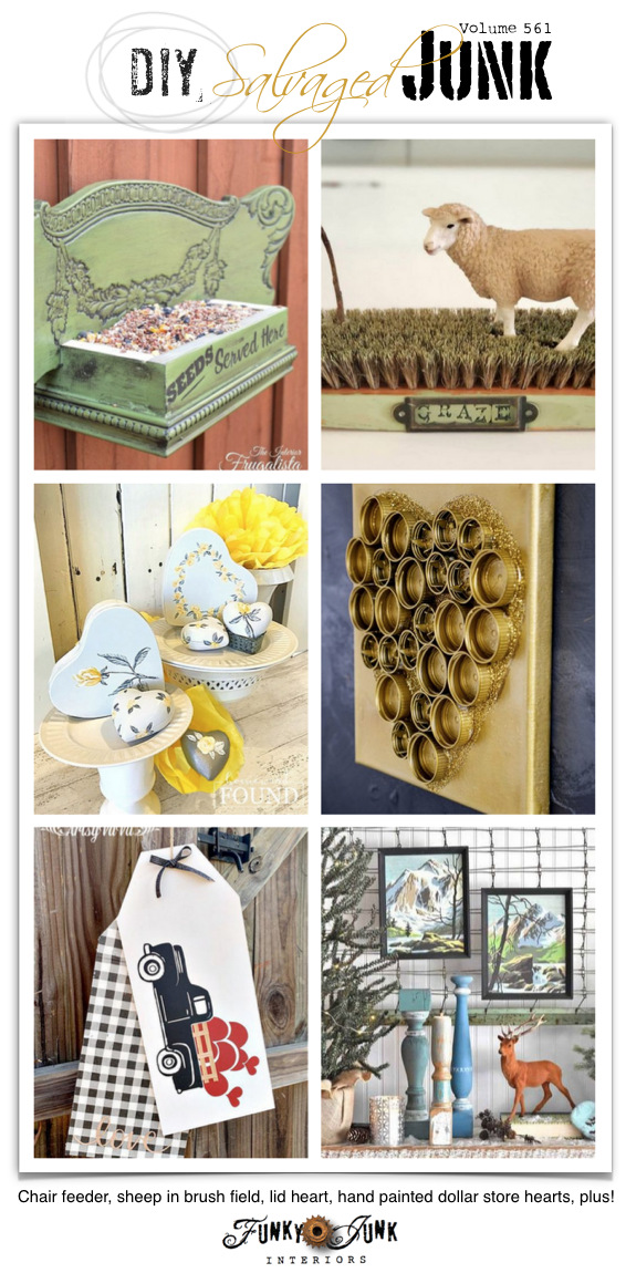 Visit 20+ NEW DIY Salvaged Junk Projects 561 - Chair feeder, sheep in brush field, lid heart, hand painted dollar store hearts, plus! Up-cycled projects with full tutorials on Funky Junk! Click to join in!