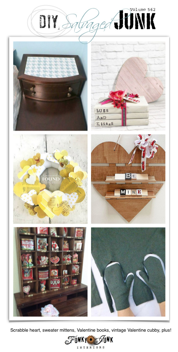 Visit 20+ NEW DIY Salvaged Junk Projects 562 - Scrabble heart, sweater mittens, Valentine books, vintage Valentine cubby, plus! Up-cycled projects with link party on Funky Junk! Join in!