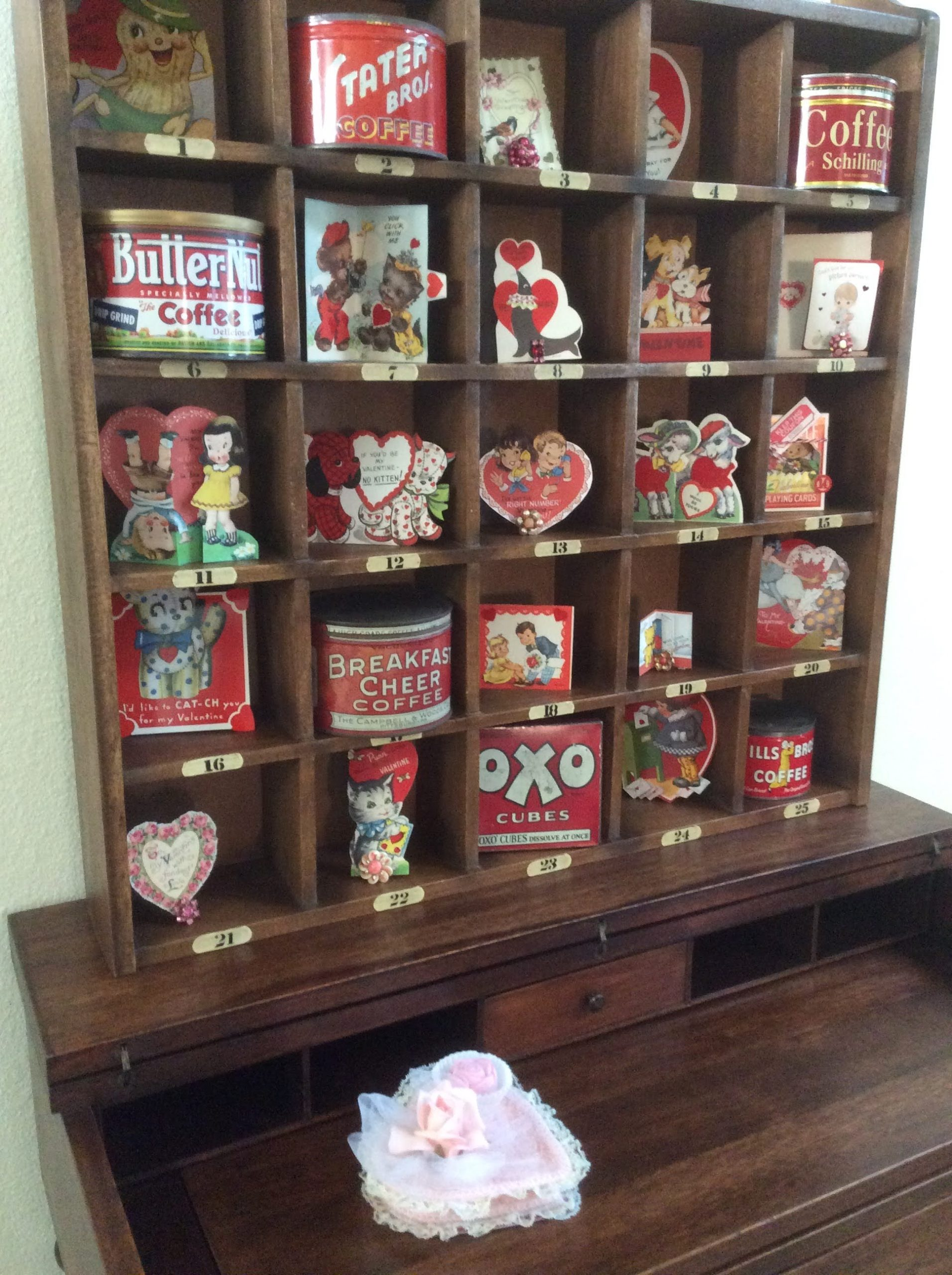 Vintage Valentine's Day cubbies by Fresh Vintage by Lisa S, featured on DIY Salvaged Junk Projects 562 on Funky Junk!