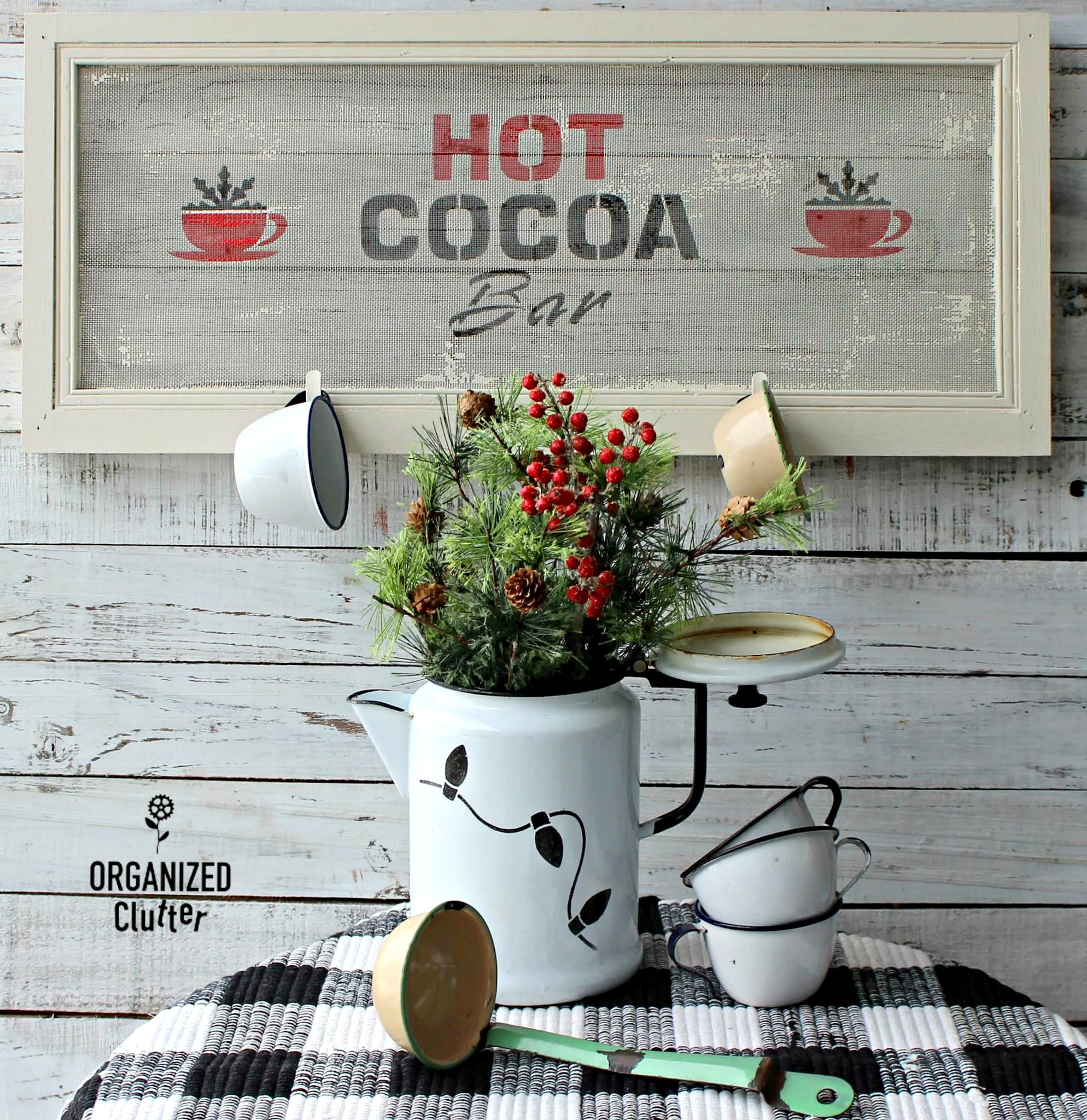 Window screen Hot Cocoa sign by Organized Clutter, featured on DIY Salvaged Junk Projects 559 on Funky Junk!