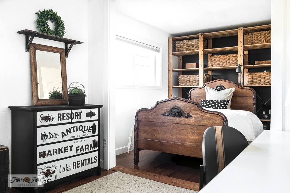 A tour of a bedroom with antique bed and subway styled dresser. Click to take the full tour and learn tips on how to rearrange furniture for a new look.