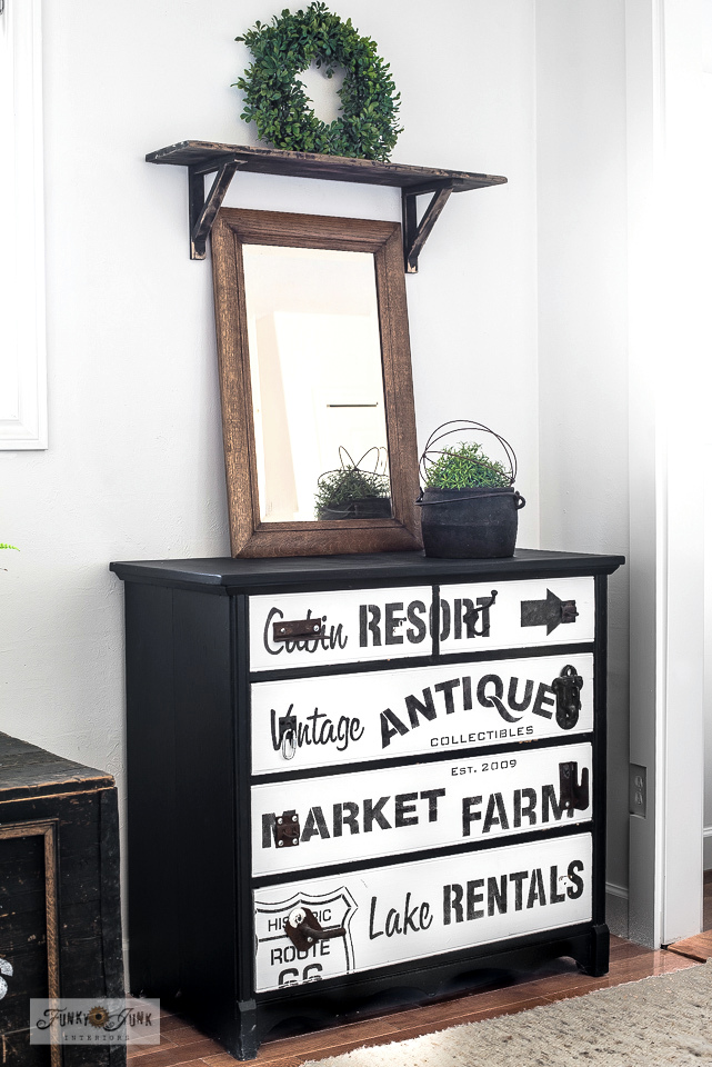 Learn how to create a subway styled dresser using stencils! Click to read full tutorial and more tips on how to rearrange furniture for a new look.