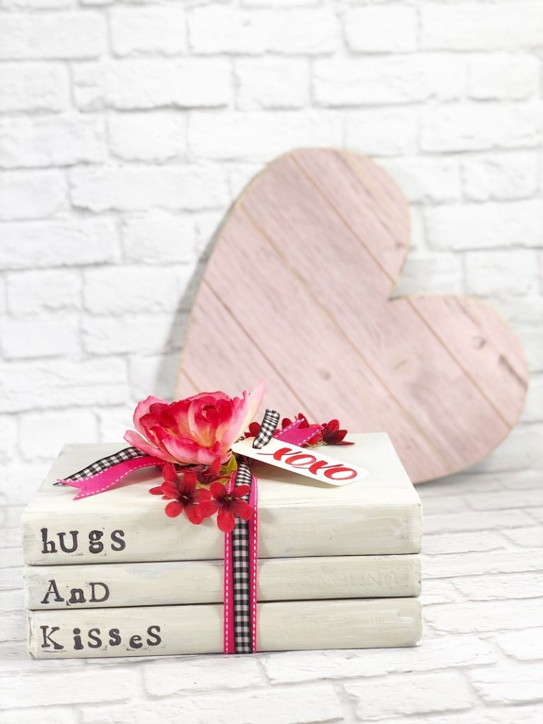 Valentine's Day book stack by Creatively Beth, featured on DIY Salvaged Junk Projects 562 on Funky Junk!