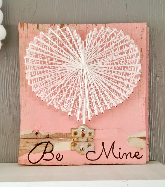 Rustic Valentine's Day string art by Little Vintage Cottage, featured on DIY Salvaged Junk 599 on Funky Junk!