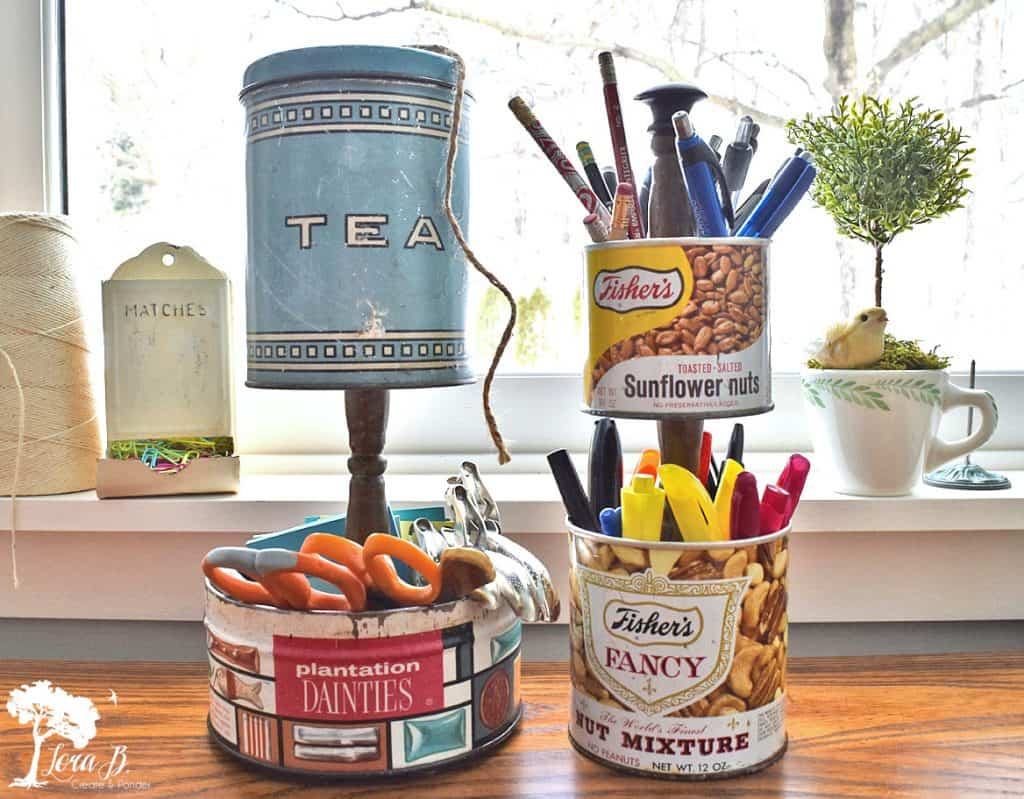 Upcycled vintage tin office organizer by Lora B, featured on DIY Salvaged Junk 599 on Funky Junk!