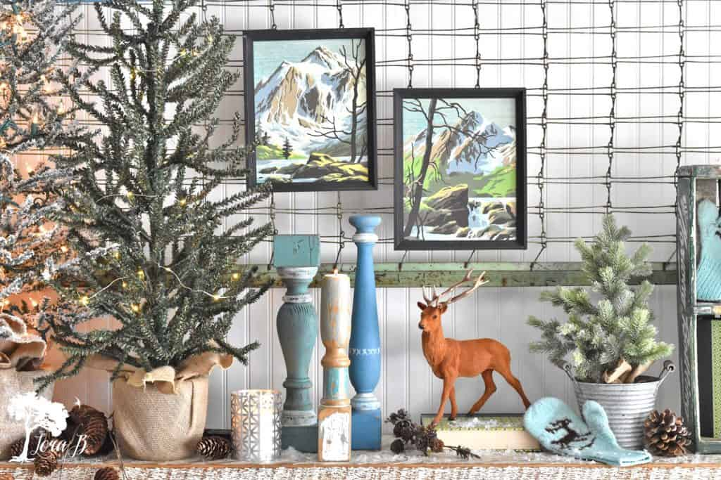 Frosty winter decorating tour by Lora B, featured on DIY Salvaged Junk Projects 561 on Funky Junk!