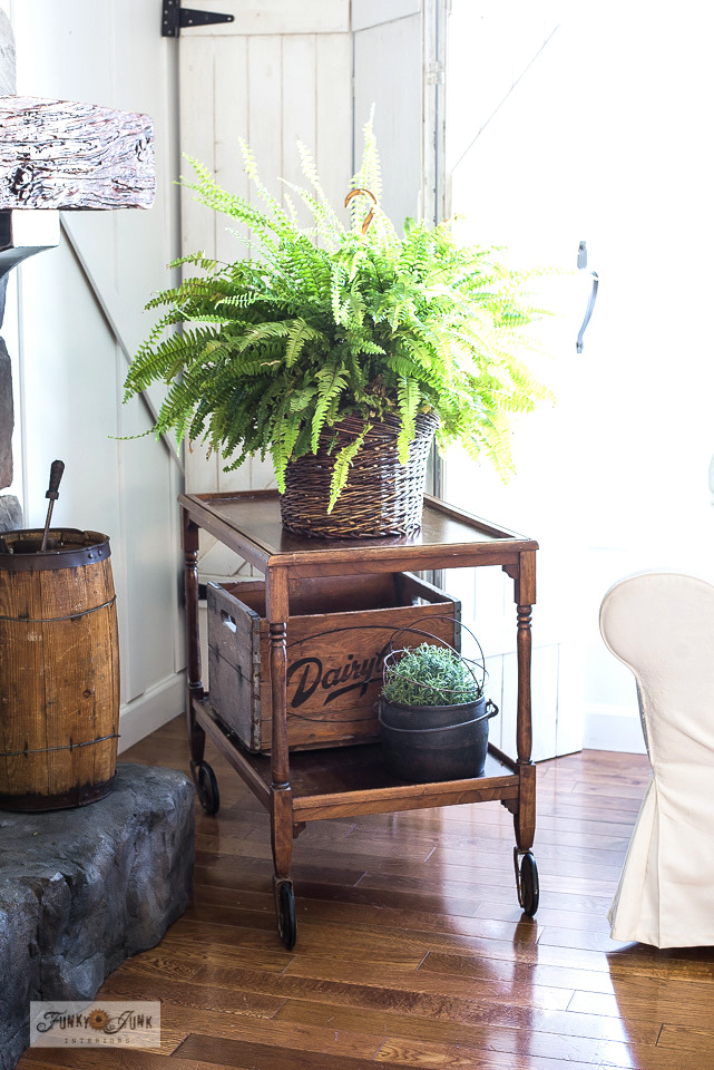 From antique tea cart to side table! Part of - Why I rearrange furniture for a new look. Click to visit many examples of creative furniture ideas put to work!