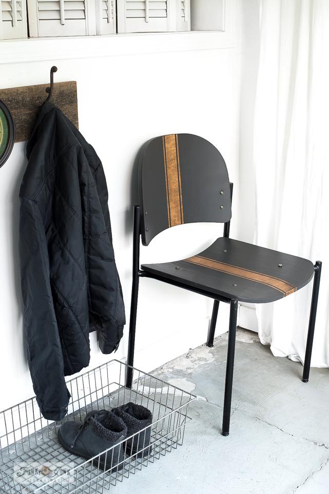 Woodgrain grain sacked chair revamp by Funky Junk Interiors