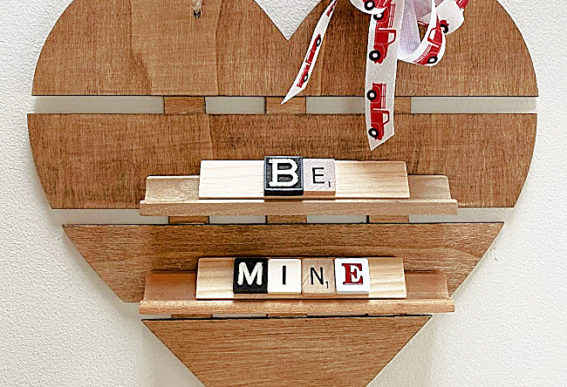 heart shelf with scrabble letters
