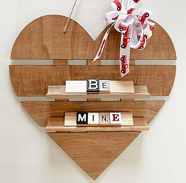 Dollar store Valentine scrabble sign by Homeroad, featured on DIY Salvaged Junk Projects 562 on Funky Junk!