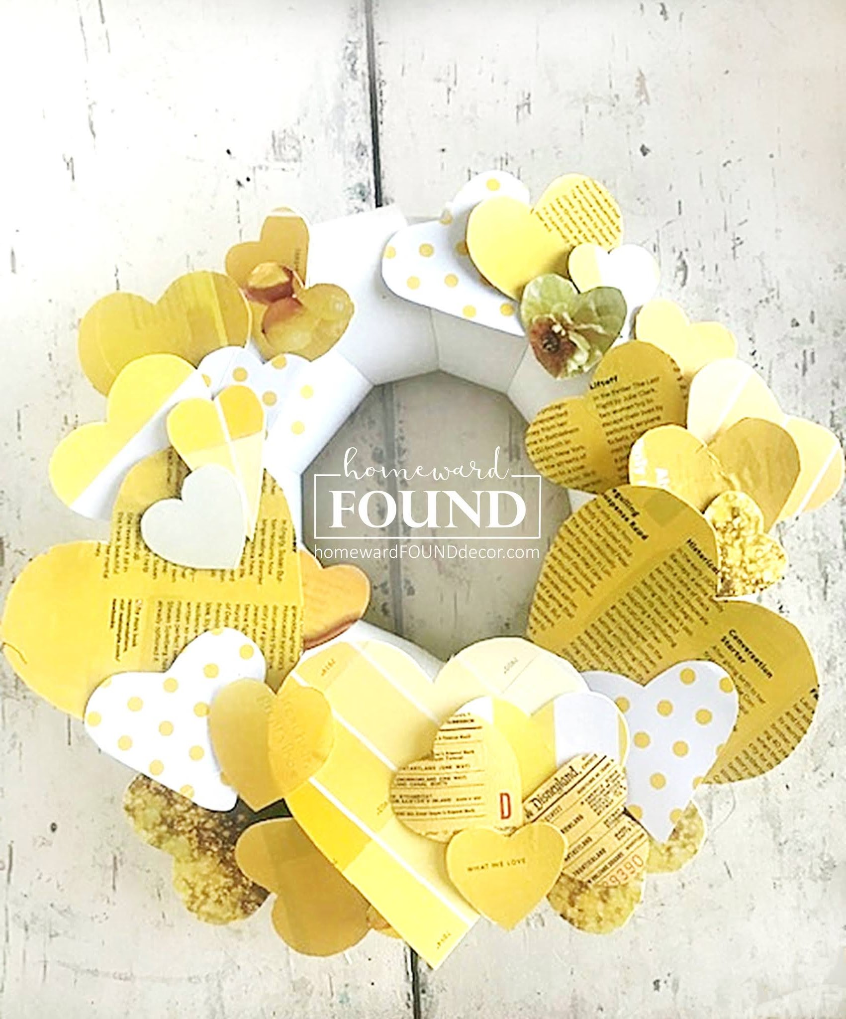 Scrap paper heart wreath by Homeward Found, featured on DIY Salvaged Junk Projects 562 on Funky Junk!