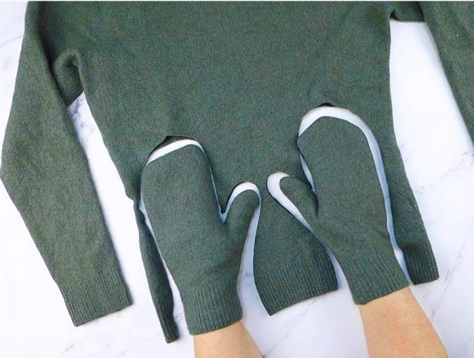 How to make sweater mittens by Hello Sewing, featured on DIY Salvaged Junk Projects 562 on Funky Junk!
