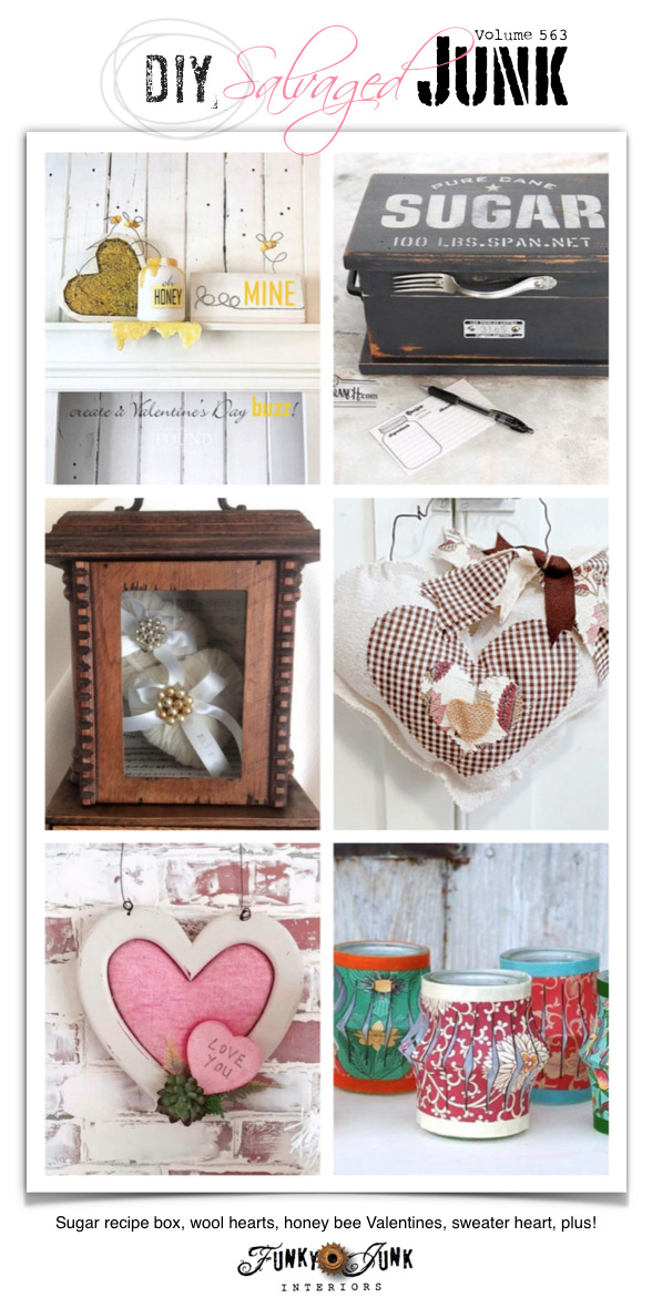 Visit 20+ NEW DIY Salvaged Junk Projects 563 - Sugar recipe box, wool hearts, honey bee Valentines, sweater heart, plus! Up-cycled projects with full tutorials on Funky Junk!
