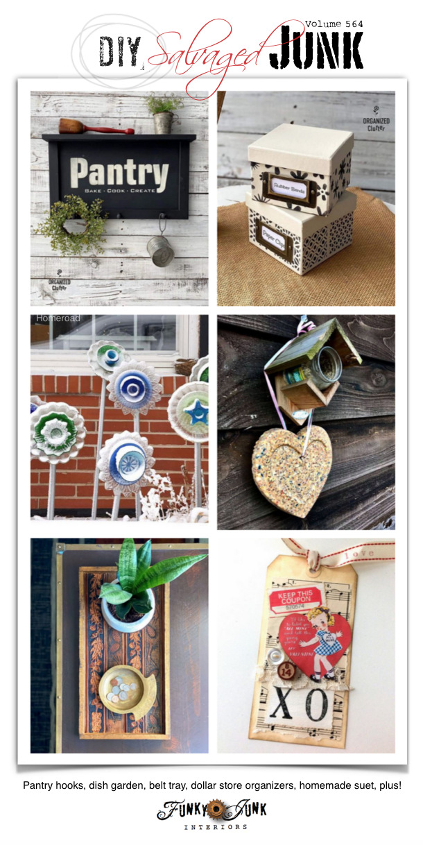 Visit 20+ NEW DIY Salvaged Junk Projects 564 - Pantry hooks, dish garden, belt tray, dollar store organizers, homemade suet, plus! Click to learn how to make these up-cycled projects with complete tutorials by clicking here.