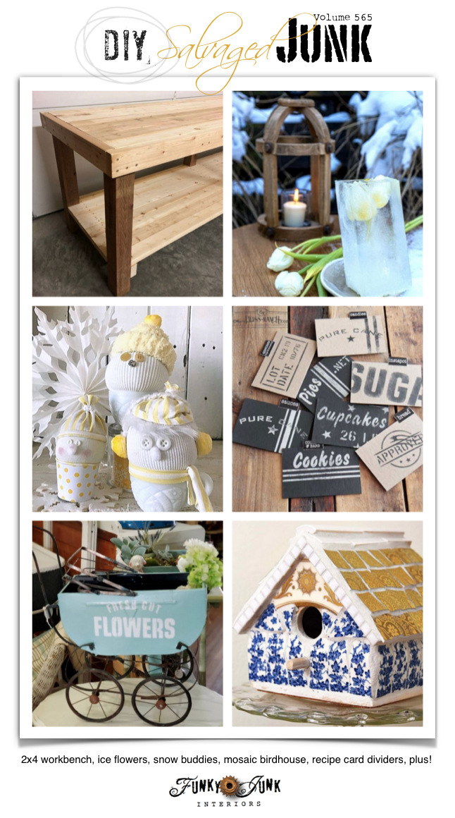 Visit 20+ NEW DIY Salvaged Junk Projects 565 - 2x4 workbench, ice flowers, snow buddies, mosaic birdhouse, recipe card dividers, plus! Up-cycled projects with tutorials on Funky Junk!
