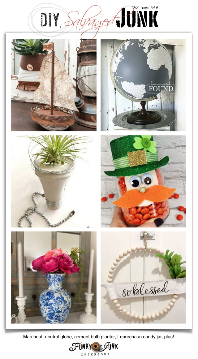 Visit 20+ NEW DIY Salvaged Junk Projects 566 - Map boat, neutral globe, cement bulb planter, Leprechaun candy jar, plus! Upcycled projects with tutorials and link party on Funky Junk!
