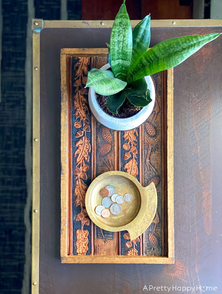 Leather belt tray by A Pretty Happy Home, featured on DIY Salvaged Junk Projects 564 on Funky Junk!