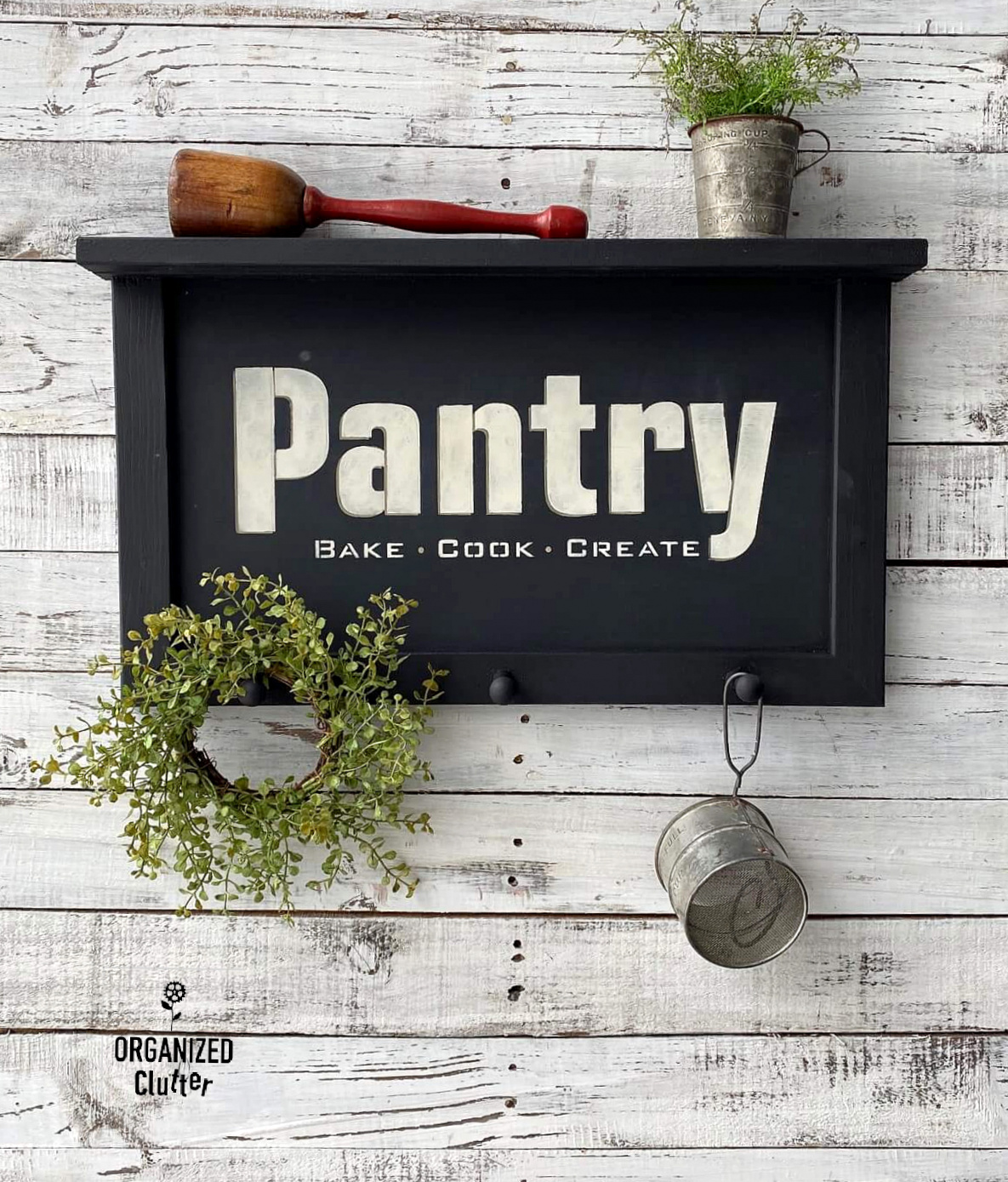 Pantry sign shelf by Organized Clutter, featured on DIY Salvaged Junk Projects 564 on Funky Junk!