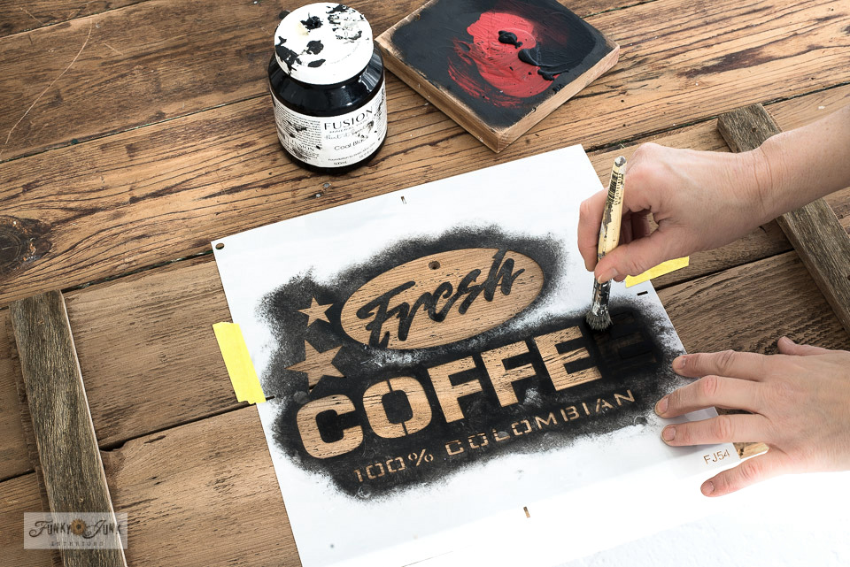 Learn how to make a rustic reclaimed wood Fresh Coffee station appliance garage or bread box! Perfect for hiding kitchen equipment! Click to read the full tutorial with stencil info!