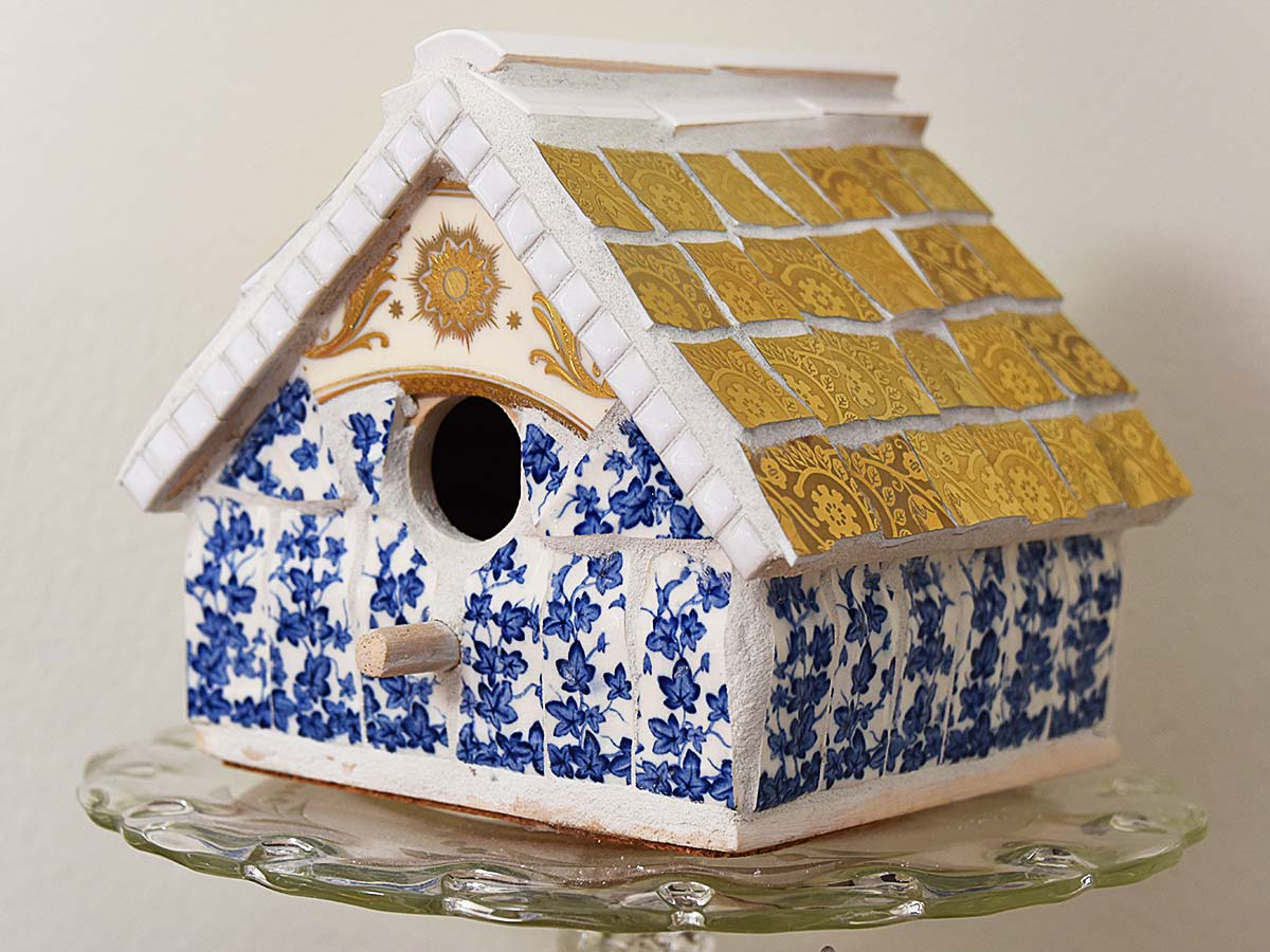 Mosaic birdhouse by Selep Imaging, featured on DIY Salvaged Junk Projects 565 on Funky Junk!