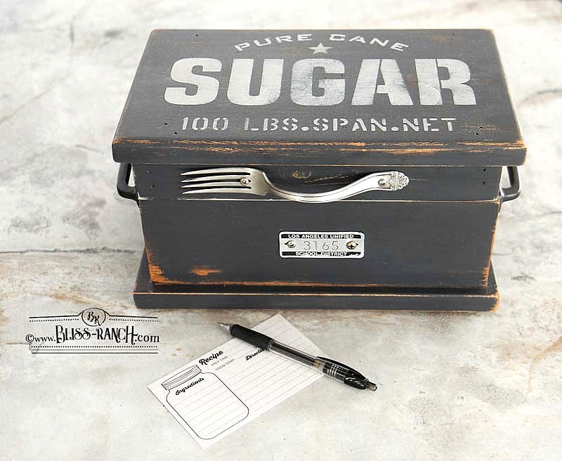 Sugar and fork recipe box by Bliss Ranch, featured on DIY Salvaged Junk Projects 563 on Funky Junk!