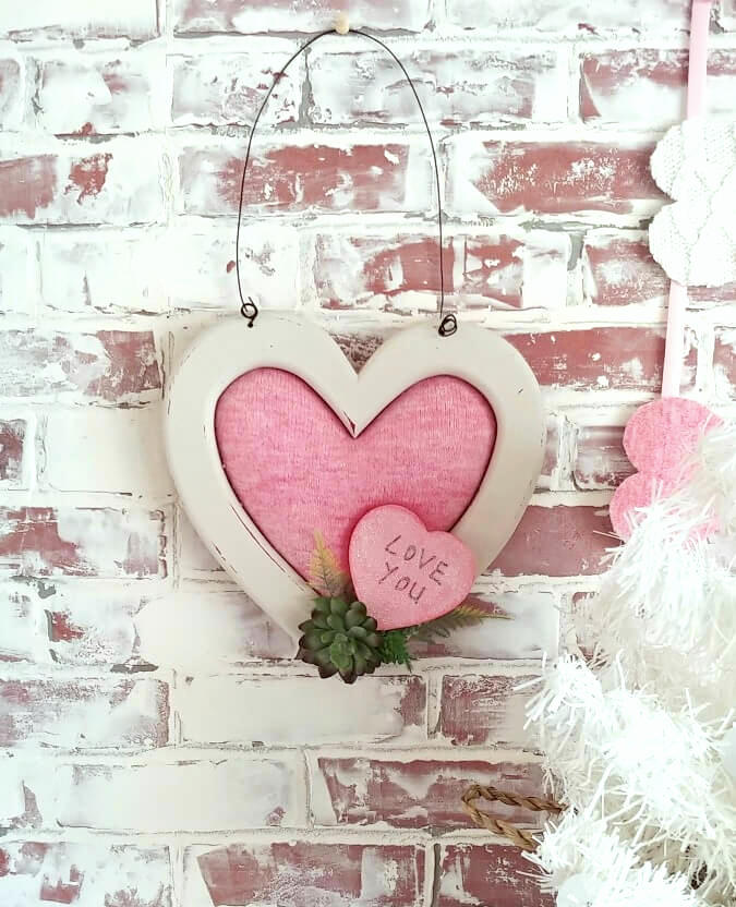 Wooden and sweater Valentine's Day heart by Little Vintage Cottage, featured on DIY Salvaged Junk Projects 563 on Funky Junk!