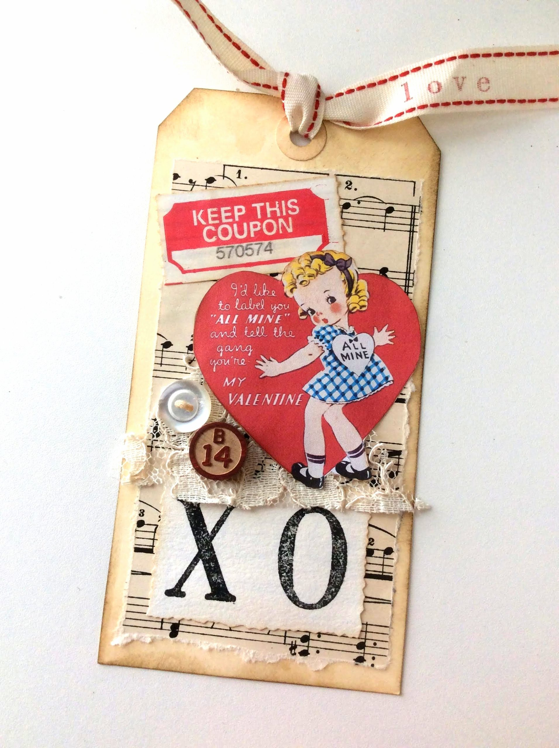 Valentine's Day card tag by Fresh Vintage by Lisa S, featured on DIY Salvaged Junk Projects 564 on Funky Junk!